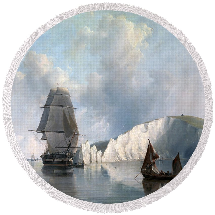 Edward William Cooke Round Beach Towel featuring the painting Off The Needles. Isle Of Wight by Edward William Cooke