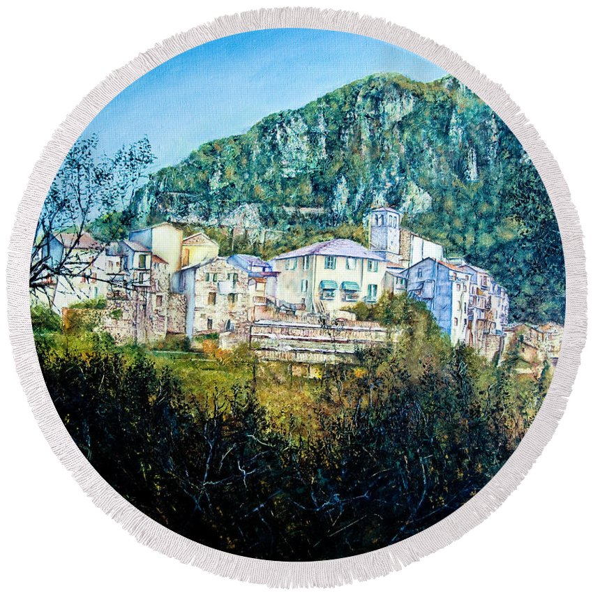 Landscapes Round Beach Towel featuring the painting Papigno Village by Michel Angelo Rossi