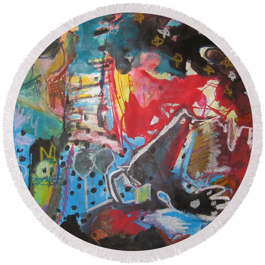 Original Round Beach Towel featuring the painting Patty's Harbour Original Abstract Colorful Landscape Painting For Sale Blue Green Red by Seon-Jeong Kim
