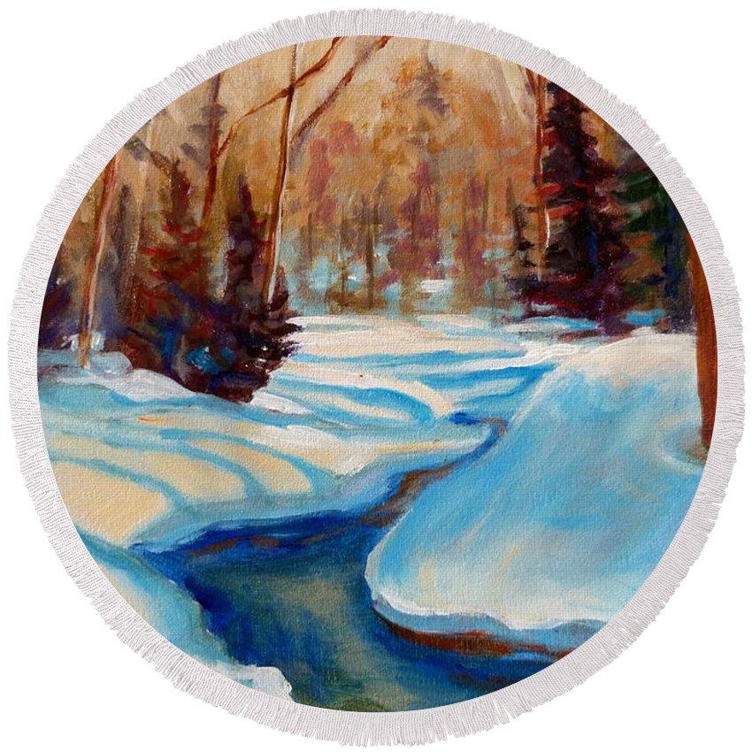 Peaceful Winding Stream Round Beach Towel featuring the painting Peaceful Winding Stream by Carole Spandau