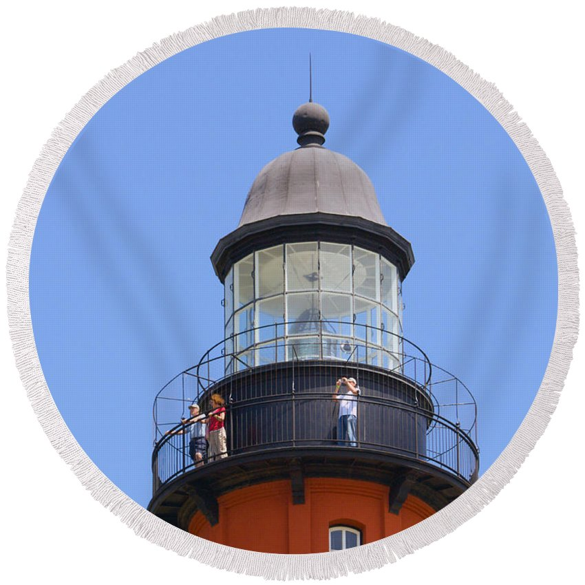 Ponce; De; Leon; Lighthouse; Light; House; Beacon; Navigation; Aid; Lens; Fresnel; Mosquito; Florida Round Beach Towel featuring the photograph Ponce De Leon Inlet Lighthouse by Allan Hughes