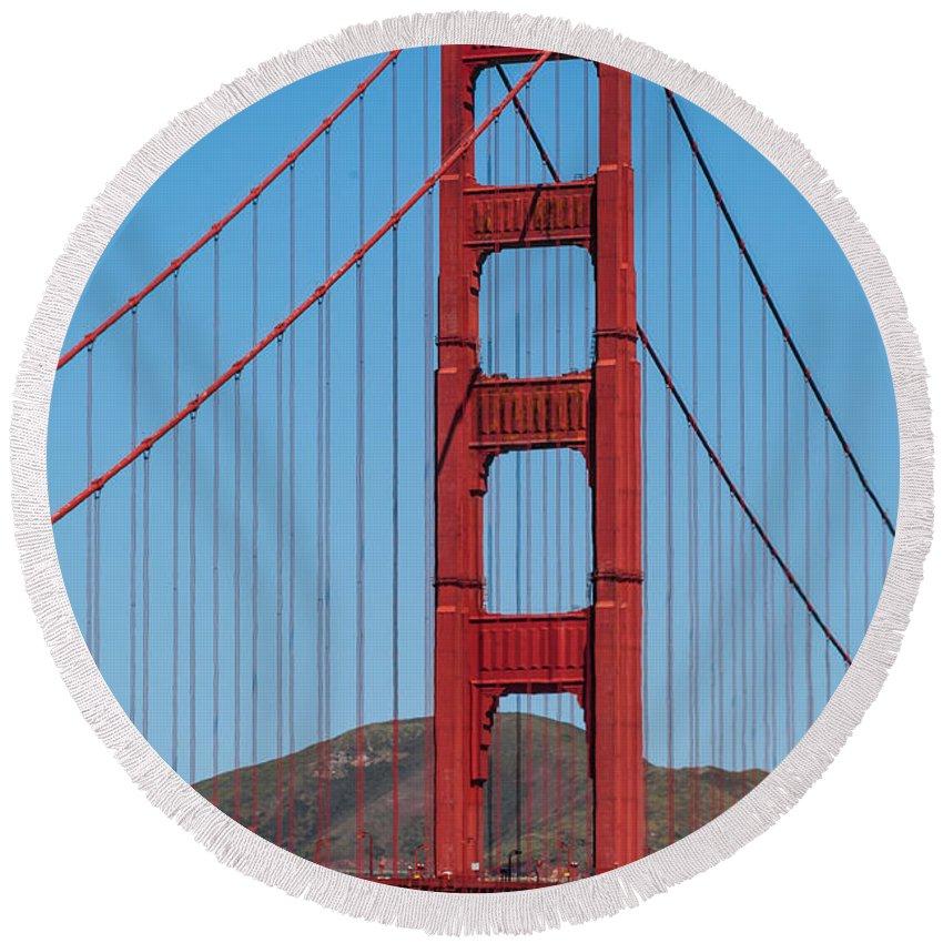 San-fransisco Bay Bridge Round Beach Towel featuring the photograph San Fransisco Bay Bridge by Charles McCleanon