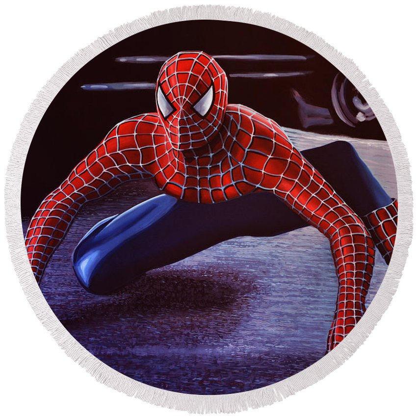 Spiderman Round Beach Towel featuring the painting Spiderman 2 by Paul Meijering