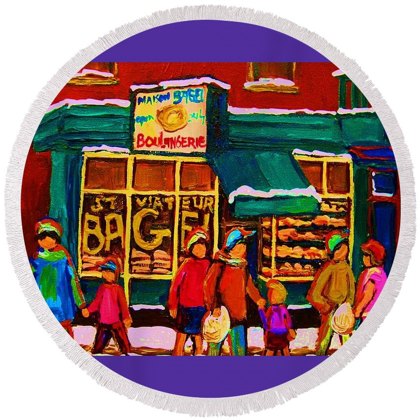 St. Viateur Bagel Round Beach Towel featuring the painting St. Viateur Bagel Family Bakery by Carole Spandau