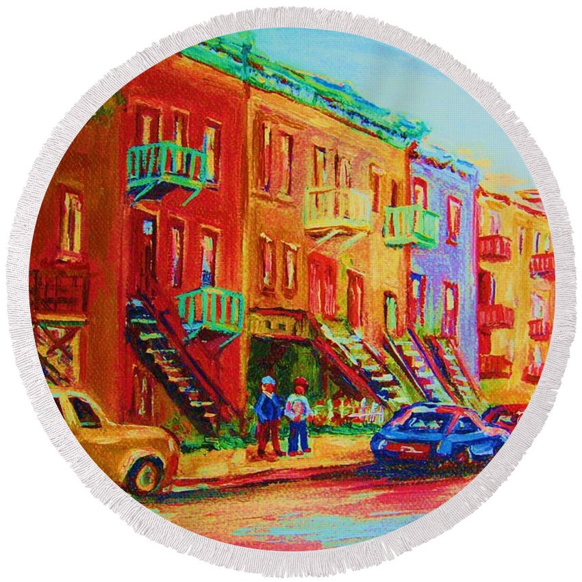 Painted Houses Round Beach Towel featuring the painting Summer In The City by Carole Spandau