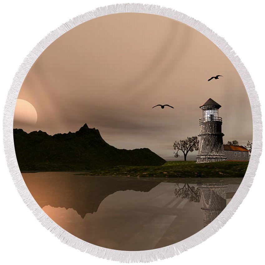 Lighthouse Round Beach Towel featuring the digital art Sunset Ocean Scene by John Junek
