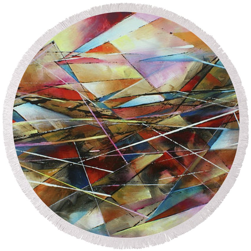 Abstract Round Beach Towel featuring the painting ' Surface ' by Michael Lang