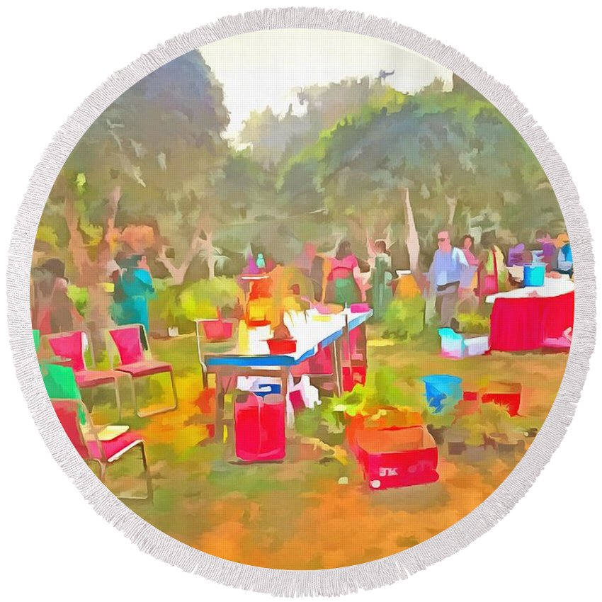 Round Beach Towel featuring the photograph Tables And Chairs At An Exhibition by Ashish Agarwal