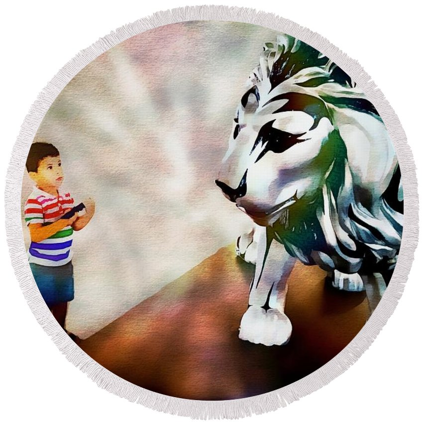 Animals Round Beach Towel featuring the photograph The Boy And The Lion 2 by Jean Francois Gil