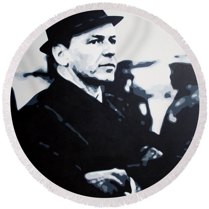 Frank Sinatra Round Beach Towel featuring the painting - The Winter Wind - by Luis Ludzska