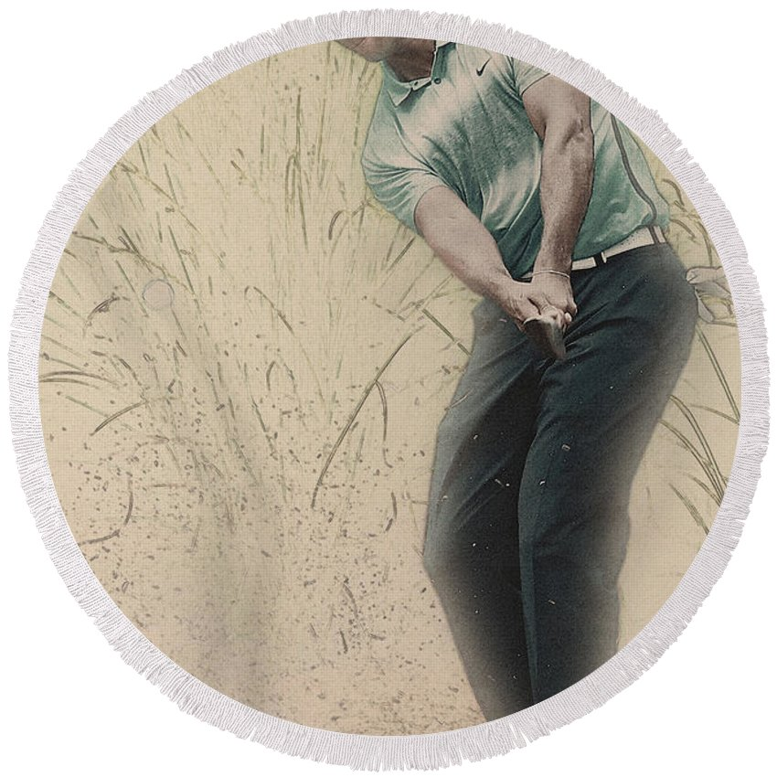 Home Art & Collectibles Round Beach Towel featuring the digital art Tiger Woods Hits From A Access Road by Don Kuing