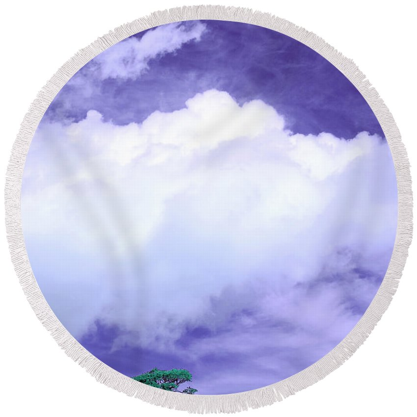Tree Round Beach Towel featuring the photograph Tree Clouds Hill by Mal Bray