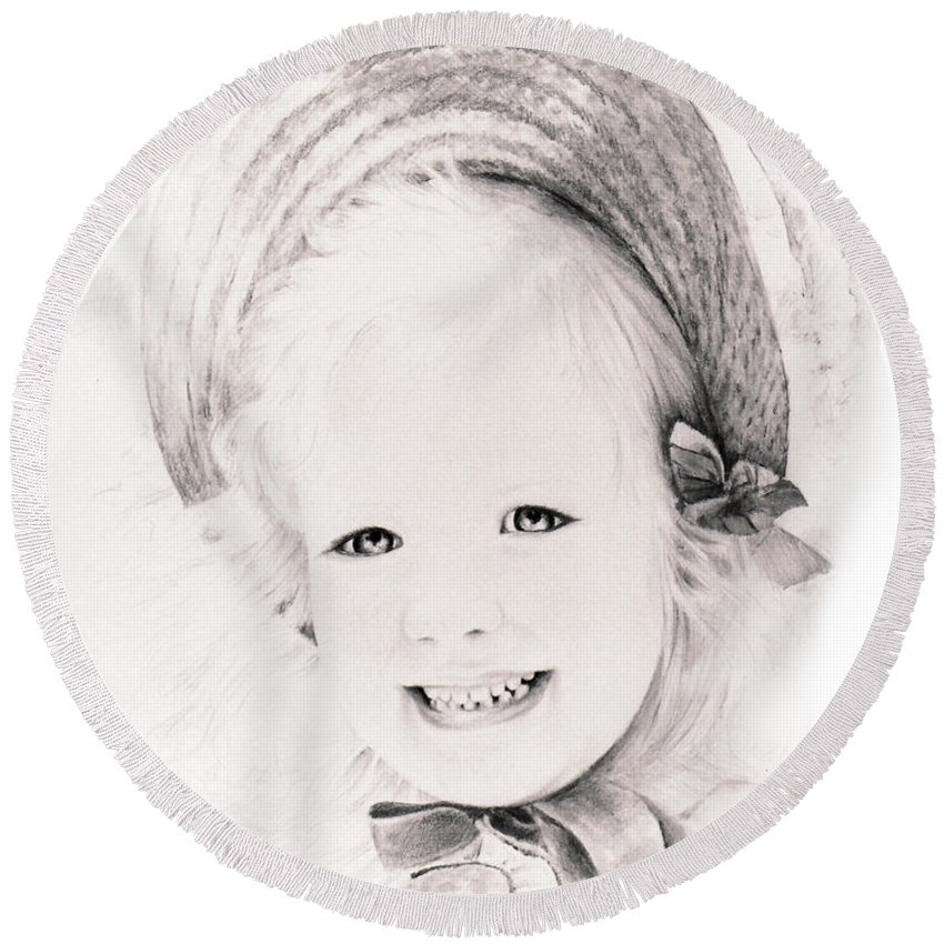Portrait Round Beach Towel featuring the drawing  Trudy by Rachel Christine Nowicki