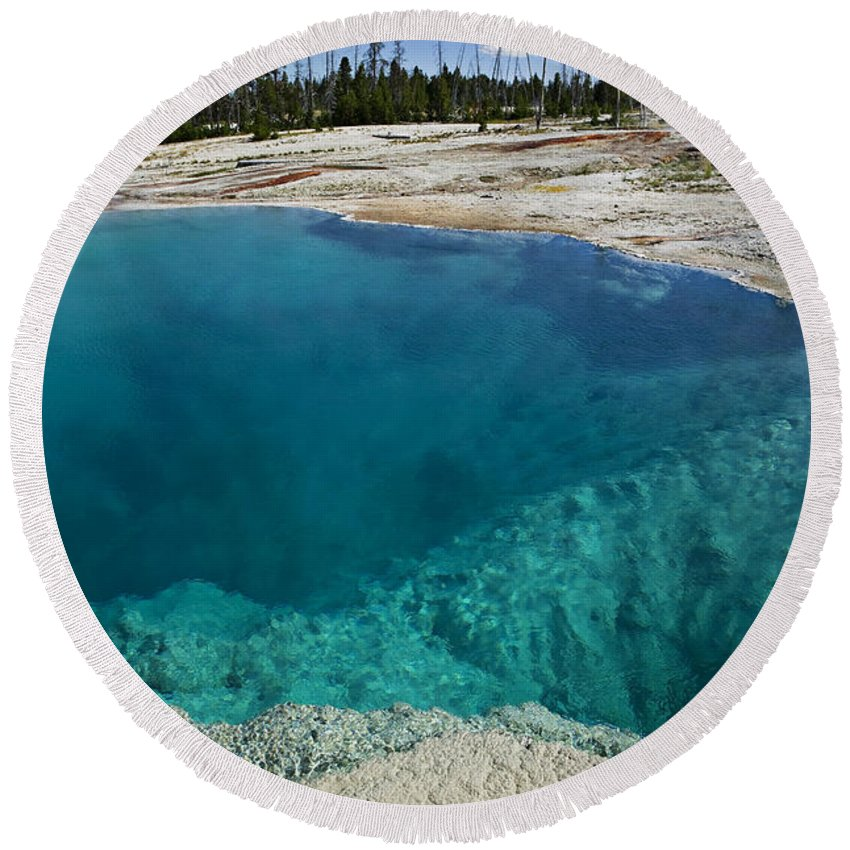 Hot Round Beach Towel featuring the photograph  Turquoise Hot Springs Yellowstone by Garry Gay