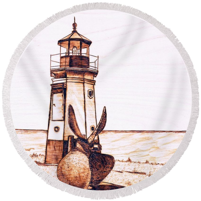 Lighthouse Round Beach Towel featuring the pyrography Vermilion Lighthouse by Danette Smith