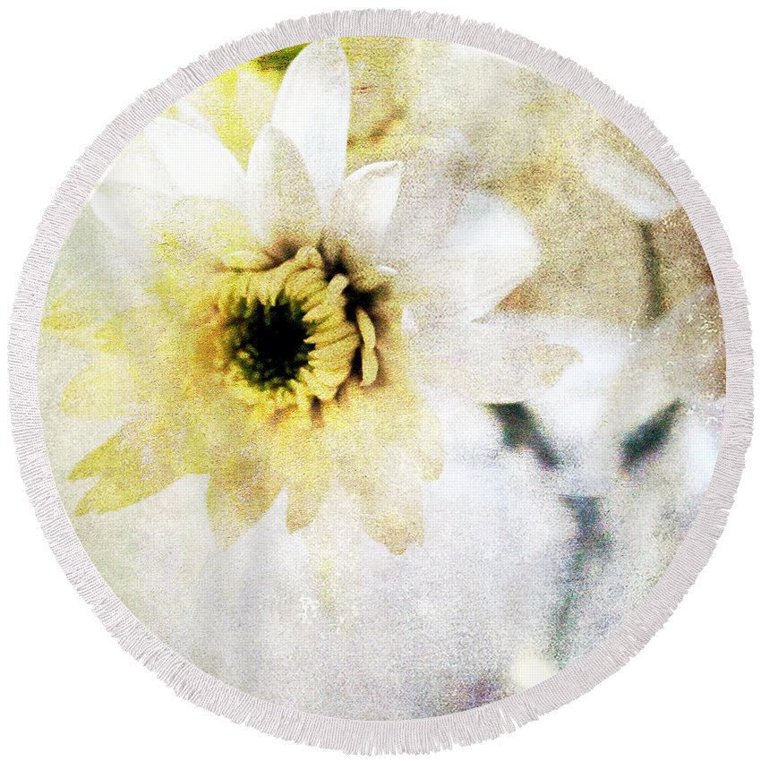 Flower Round Beach Towel featuring the mixed media White Flower by Linda Woods