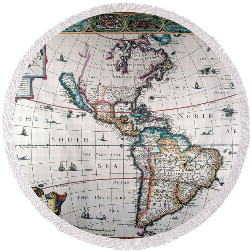 1616 Round Beach Towel featuring the painting New World Map, 1616 by Granger