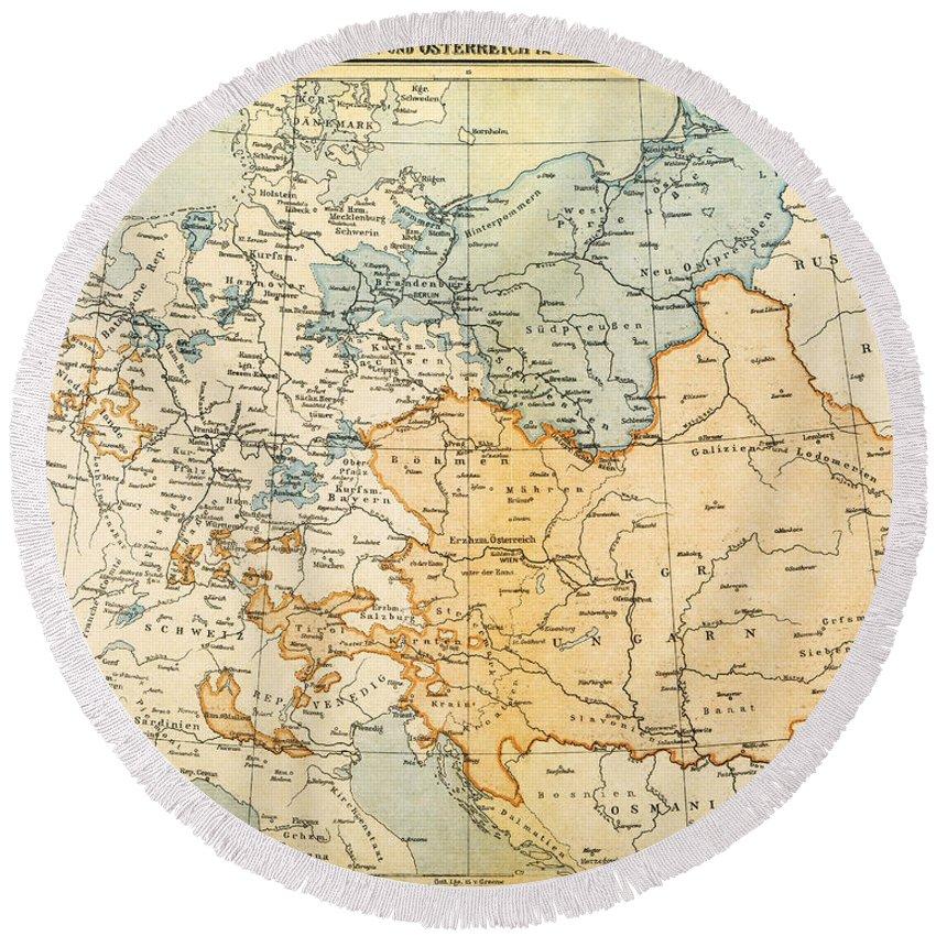 1795 Round Beach Towel featuring the painting Austrian Empire Map, 1795 by Granger