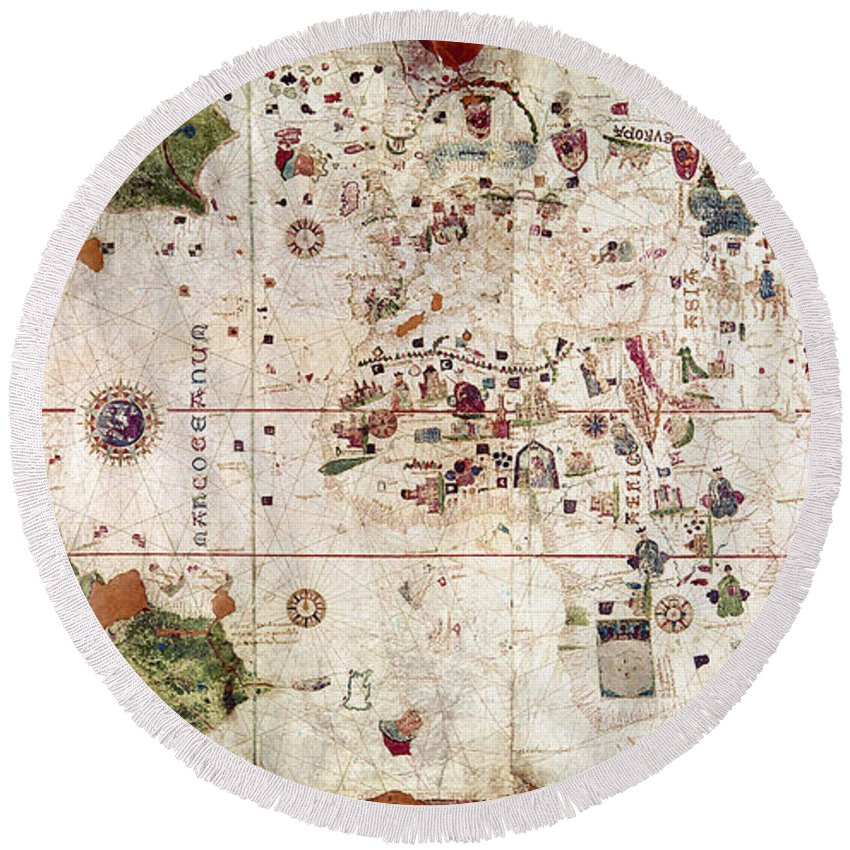 1500 Round Beach Towel featuring the painting Nina: World Map, 1500 by Granger