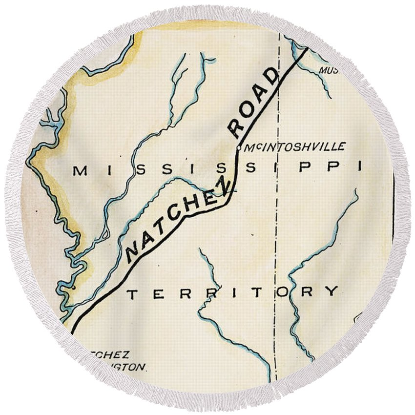 1816 Round Beach Towel featuring the painting Natchez Trace, 1816 by Granger