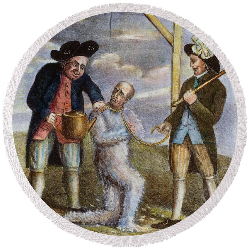 1774 Round Beach Towel featuring the painting Tarring & Feathering, 1774 by Granger