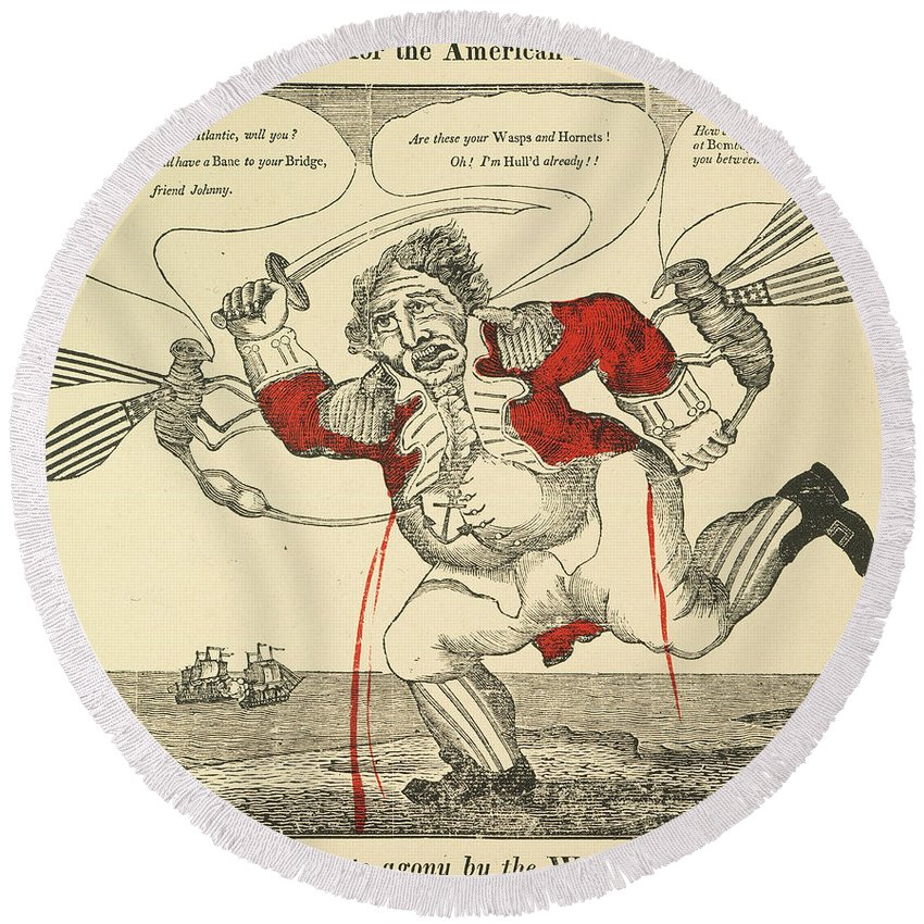 1813 Round Beach Towel featuring the painting War Of 1812: Cartoon, 1813 by Granger