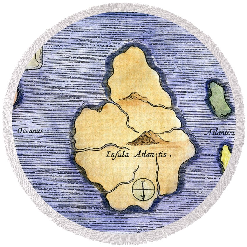 1678 Round Beach Towel featuring the painting Map Of Atlantis, 1678 by Granger