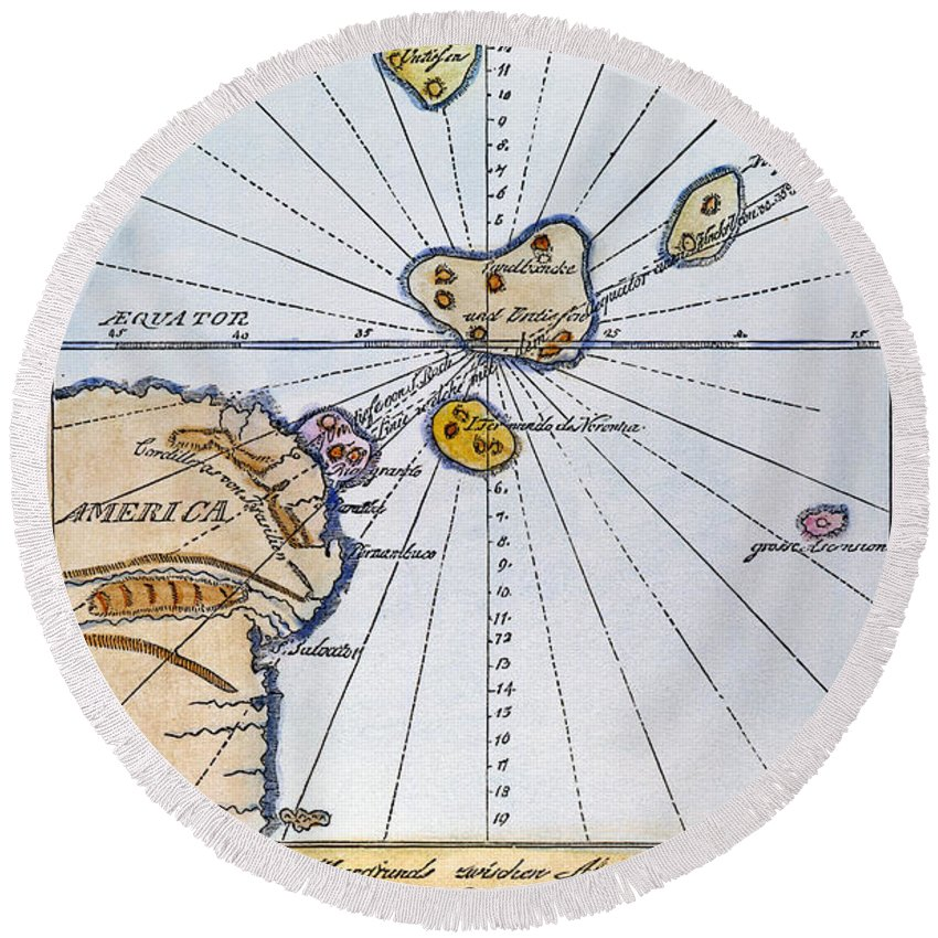 1785 Round Beach Towel featuring the painting Traces Of Atlantis by Granger