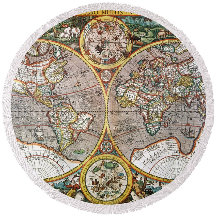 1594 Round Beach Towel featuring the painting World Map, 1607 by Granger