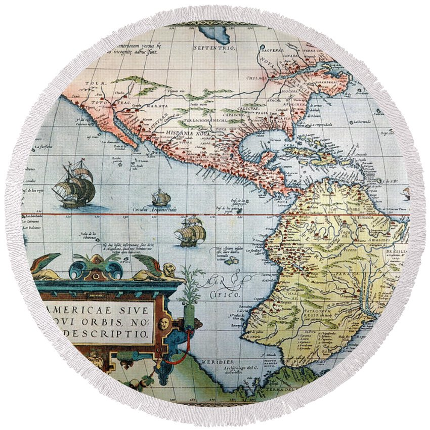 1570 Round Beach Towel featuring the painting New World Map, 1570 by Granger