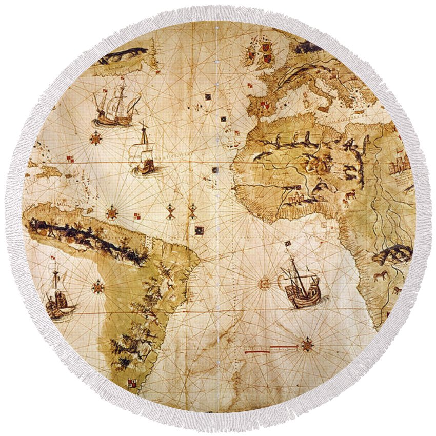 1526 Round Beach Towel featuring the painting Vespucci's World Map, 1526 by Granger