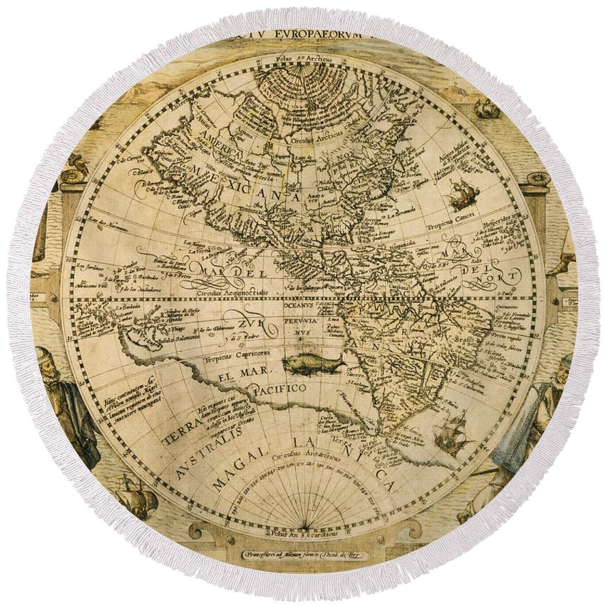 1596 Round Beach Towel featuring the painting W. Hemisphere Map, 1596 by Granger