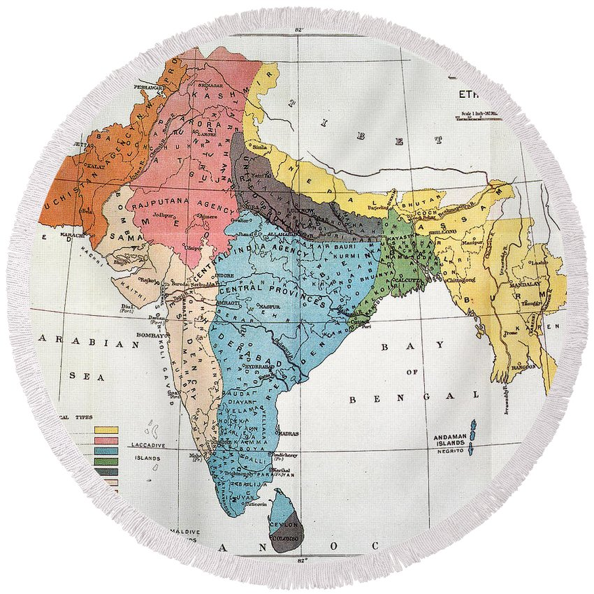 Aod Round Beach Towel featuring the painting India: Map, 19th Century by Granger