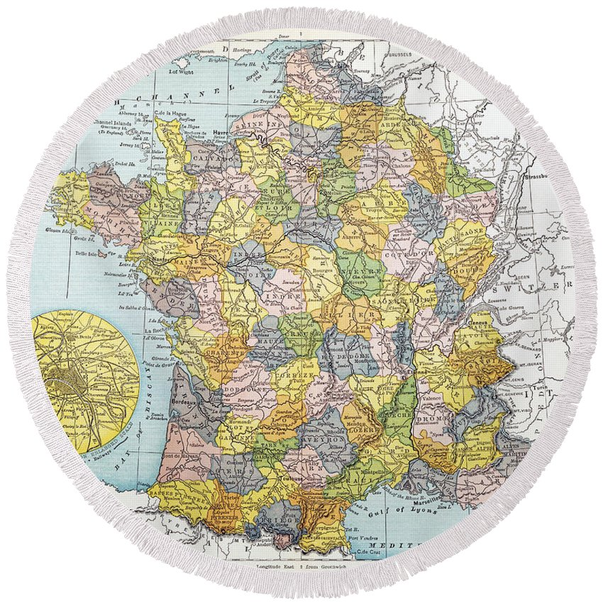 1900 Round Beach Towel featuring the painting Map Of France, C1900 by Granger