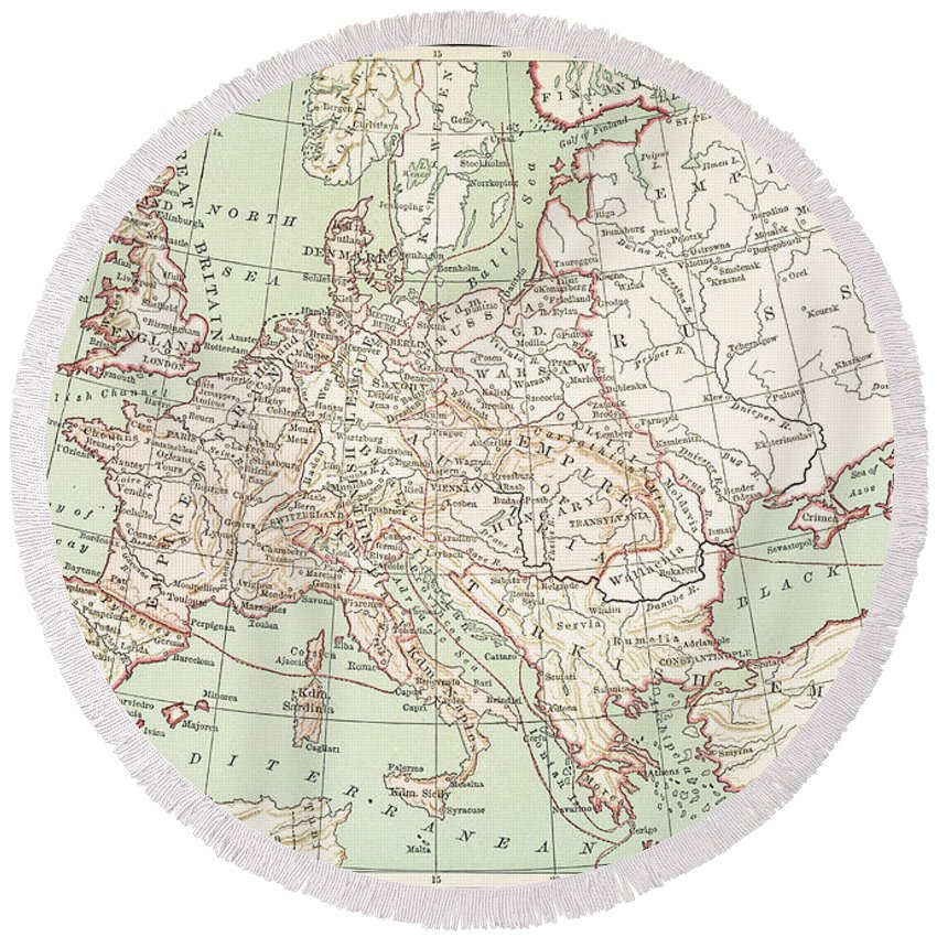 1810s Round Beach Towel featuring the painting Map Of Europe, C1812 by Granger