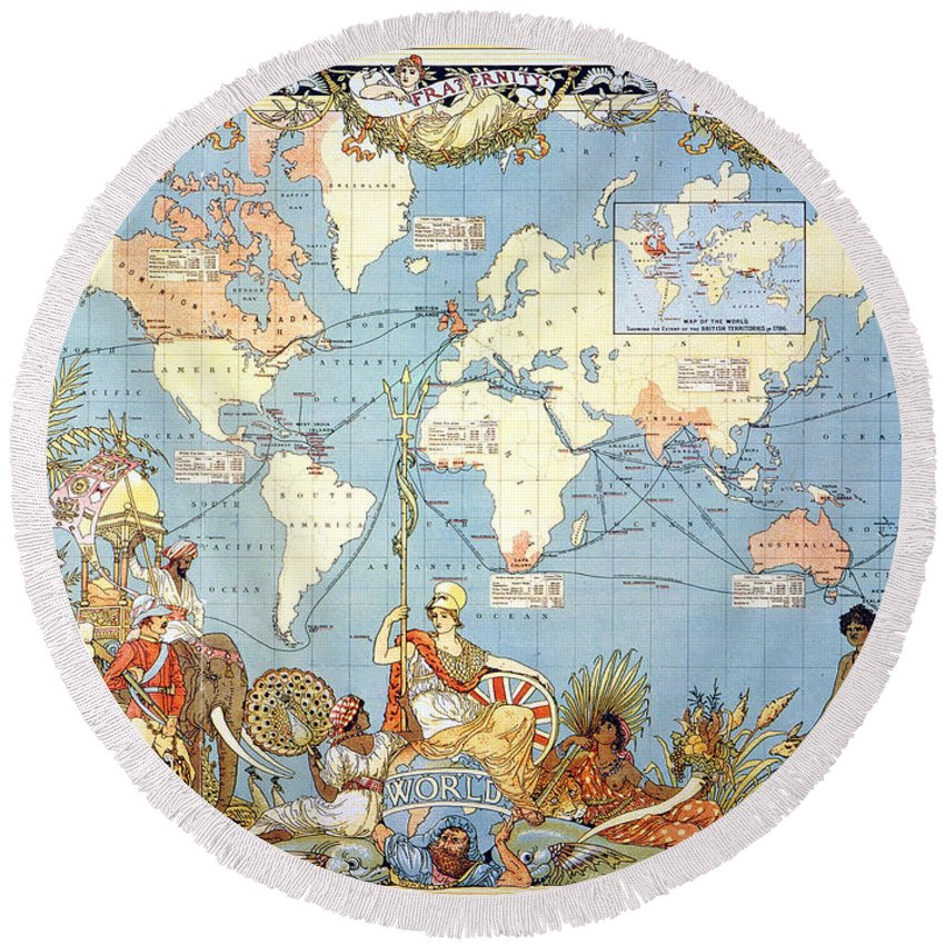 1886 Round Beach Towel featuring the painting Map: British Empire, 1886 by Granger