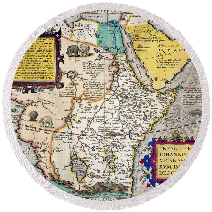 1595 Round Beach Towel featuring the painting African Map, 1595 by Granger