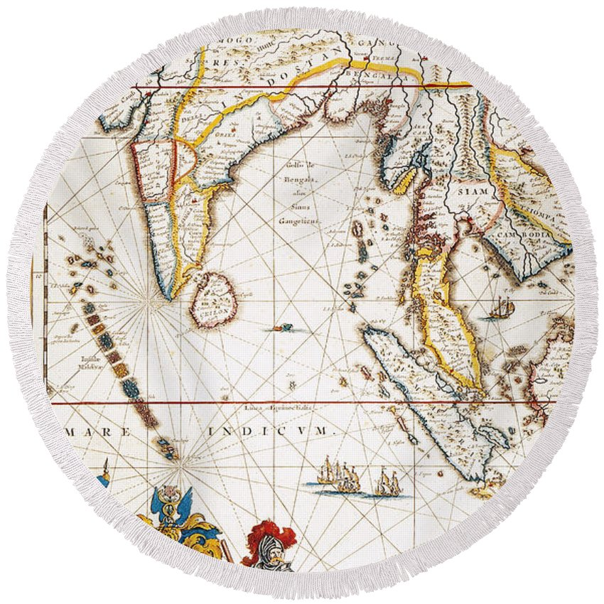 1662 Round Beach Towel featuring the painting South Asia Map, 1662 by Granger