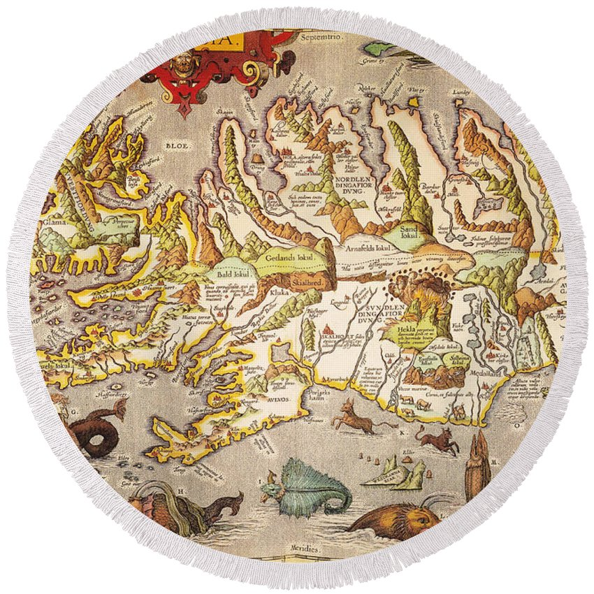 1595 Round Beach Towel featuring the painting Iceland: Map, 1595 by Granger