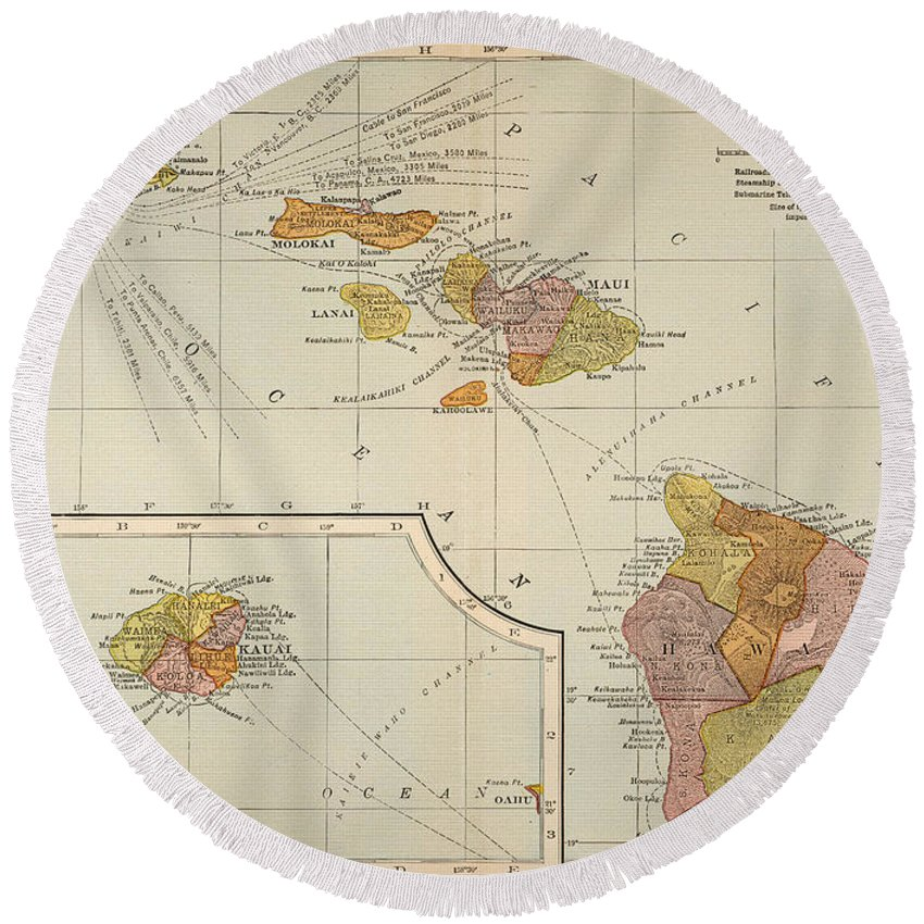 1905 Round Beach Towel featuring the painting Map: Hawaii, 1905 by Granger