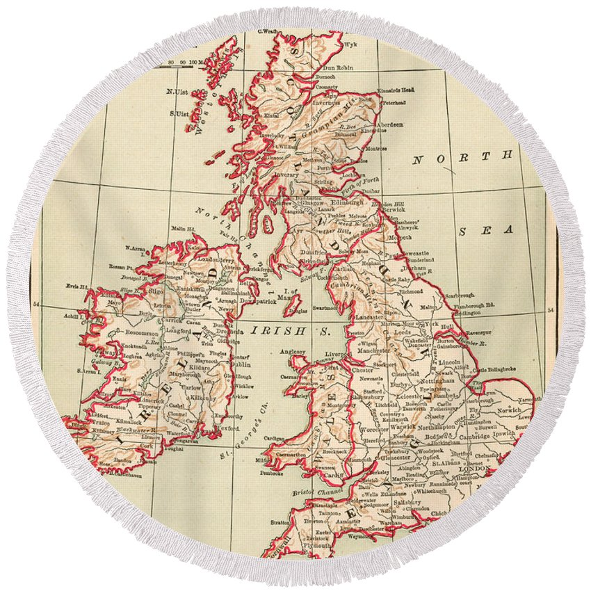 1890 Round Beach Towel featuring the painting Map: British Isles, C1890 by Granger