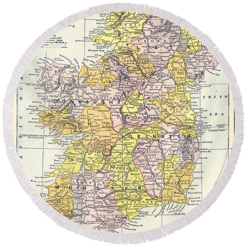 1890 Round Beach Towel featuring the painting Map: Ireland, C1890 by Granger