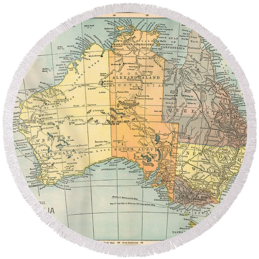 1890 Round Beach Towel featuring the painting Map: Australia, C1890 by Granger