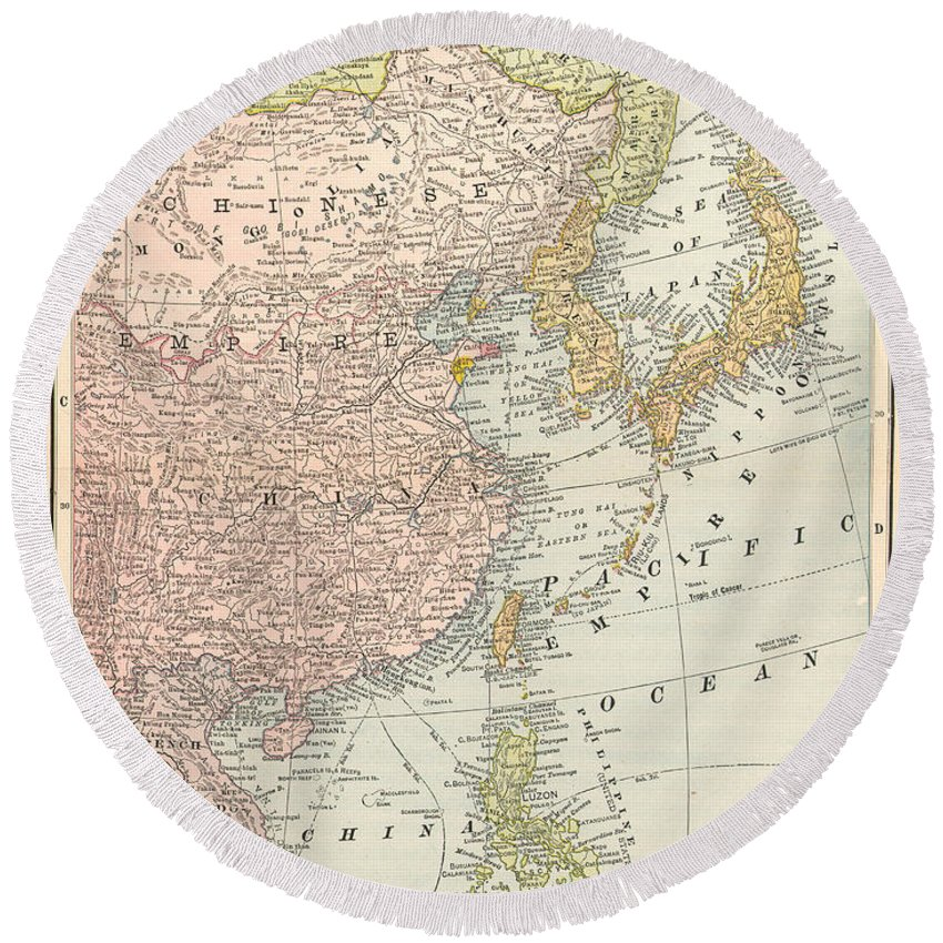 1907 Round Beach Towel featuring the painting Map: East Asia, 1907 by Granger