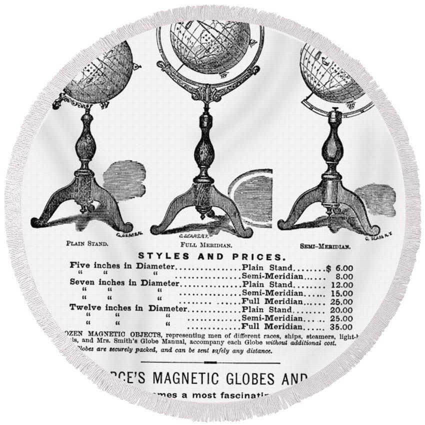 1873 Round Beach Towel featuring the painting Maps: Globes by Granger