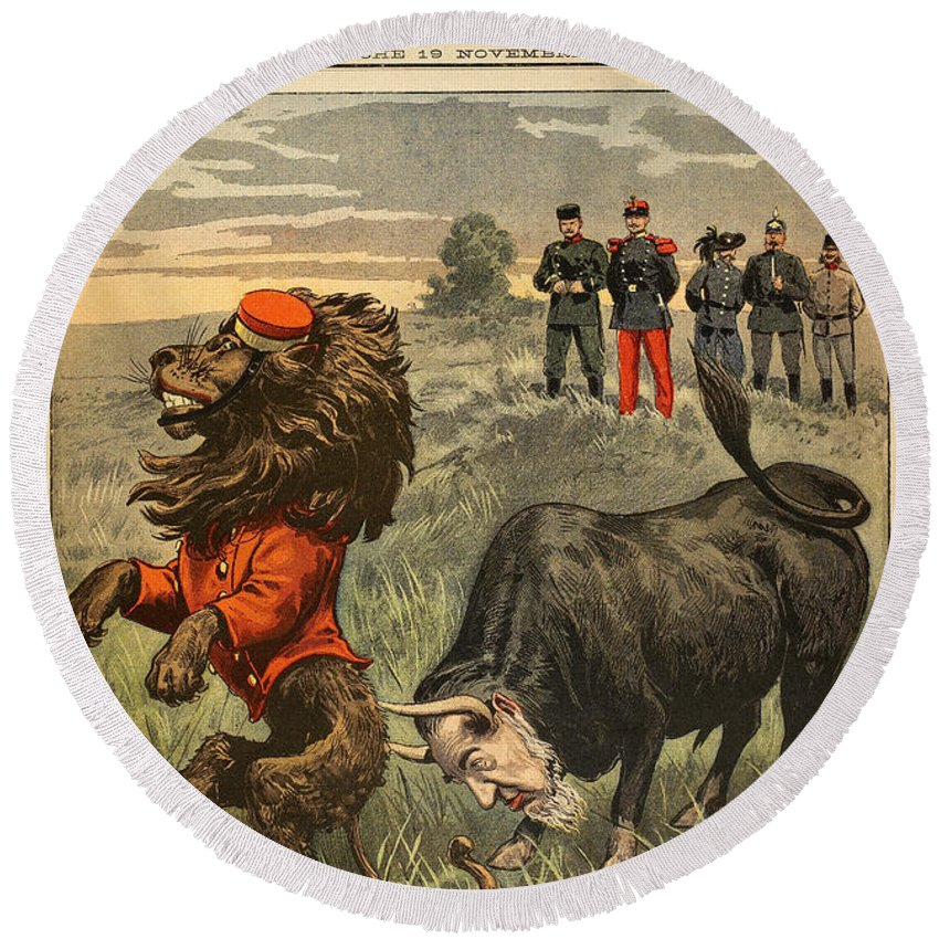 1899 Round Beach Towel featuring the painting Boer War Cartoon, 1899 by Granger