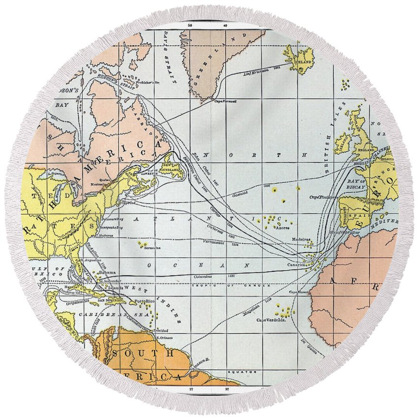11th Century Round Beach Towel featuring the painting Map: Atlantic Voyages by Granger