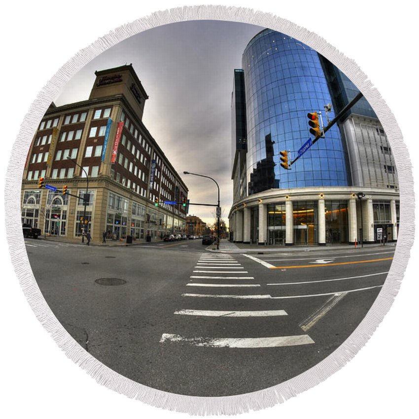 Buffalo Ny Round Beach Towel featuring the photograph 01 Delaware And Chippewa Dec2015 by Michael Frank Jr