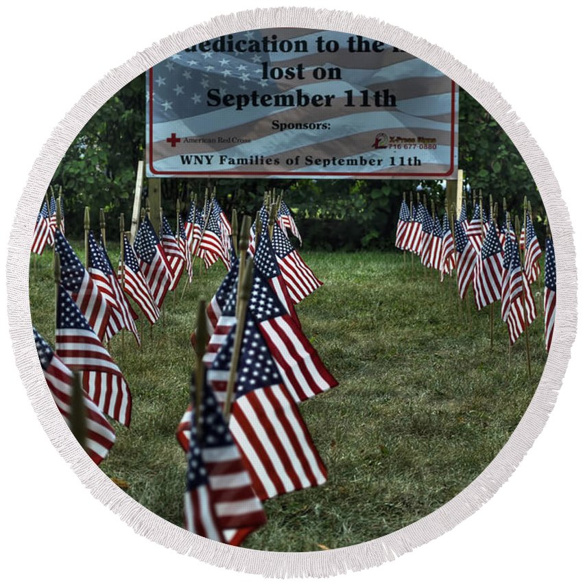 Buffalo Round Beach Towel featuring the photograph 010 Flags For Fallen Soldiers Of Sep 11 by Michael Frank Jr