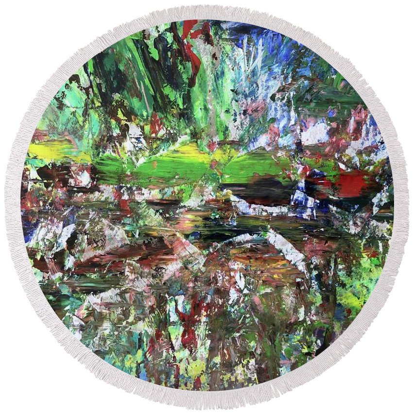 Bright Round Beach Towel featuring the painting 01001 by Liyri Art